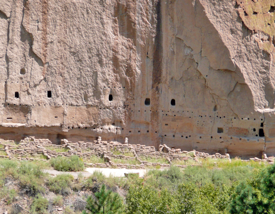 The ruins of Long House, a row of multi story Ancestral Pueblo housing, seen from the Frijolito Loop